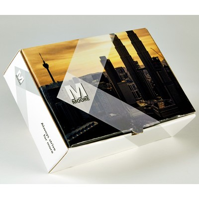 "PRESENTATION & MAILER BOX (9.5"" x 6.5"" x 3"") Full Color w/ High Gloss Film Laminate Finish"